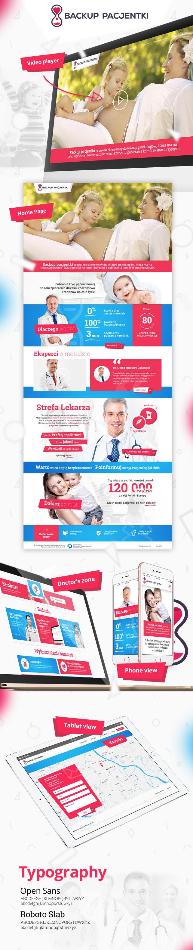 Strona www, identyfikacja wizualna Backup pacjentki Polski Bank  Komórek Macierzystych