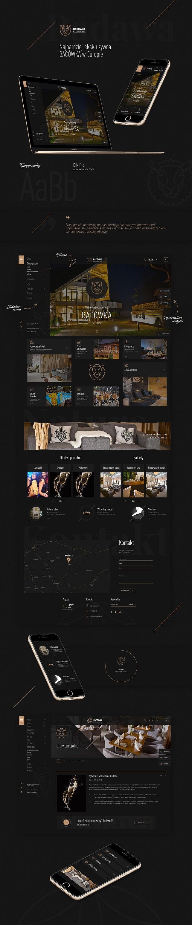 Strona www, projekt graficzny Bacówka Radawa & Spa