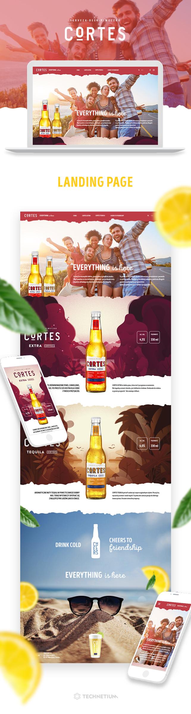 Strona www, projekt graficzny Cortes