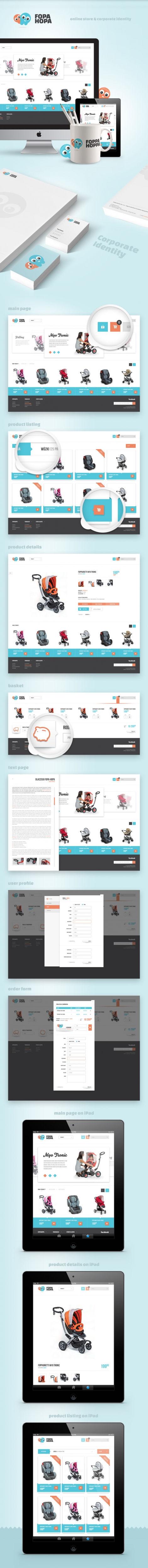 Sklep on-line, identyfikacja wizualna FOPA HOPA wózki dziecięce