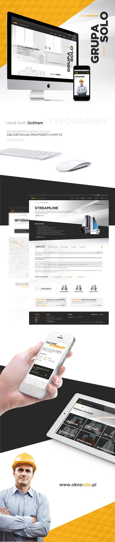 Strona www, projekt graficzny Grupa Solo producent okien