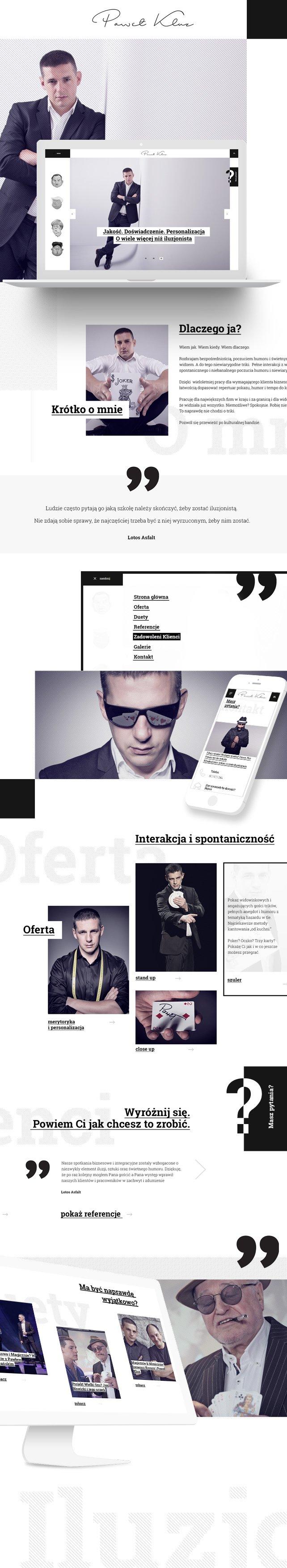 Strona www, projekt graficzny Iluzjonista Paweł Kluz