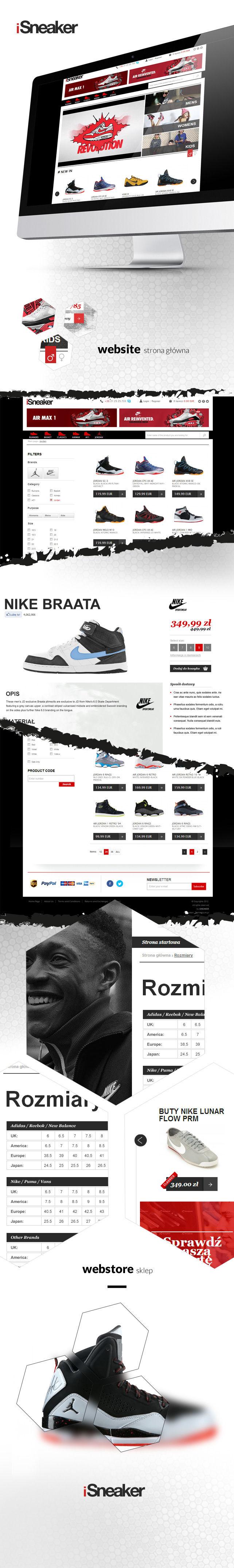 Sklep on-line, projekt graficzny Isneaker sklep odzieżowy