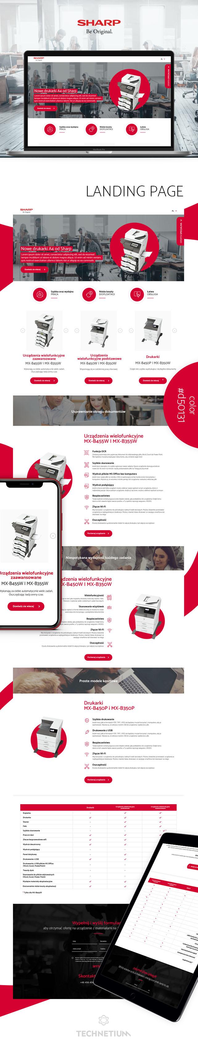 Strona www, projekt graficzny Landing Page Sharp