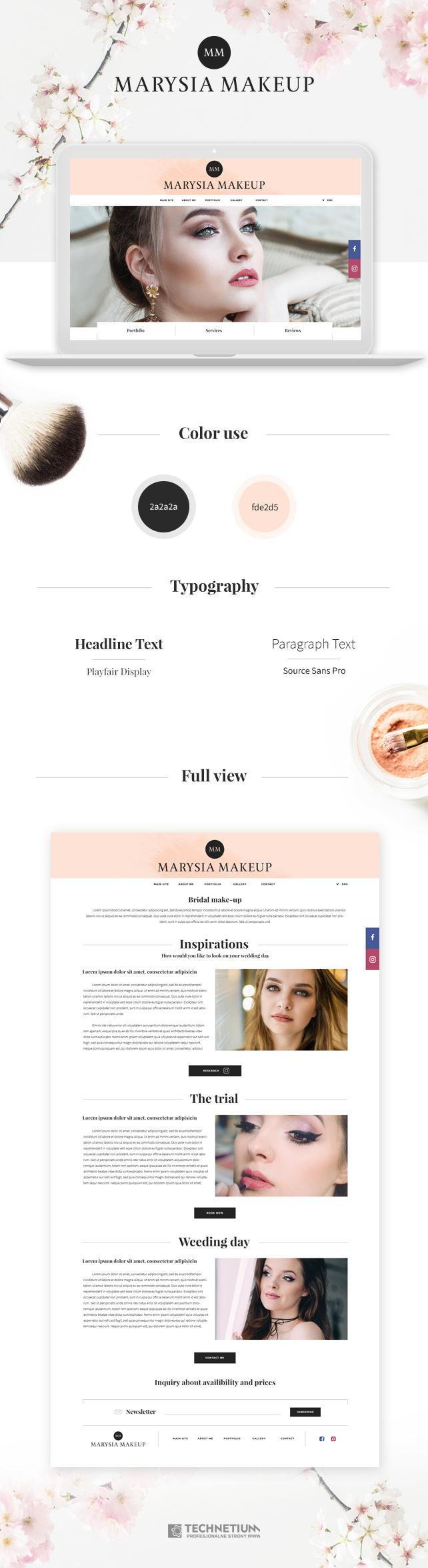 Strona www, identyfikacja wizualna Marysia Makeup Strona www wizażystki i stylistki