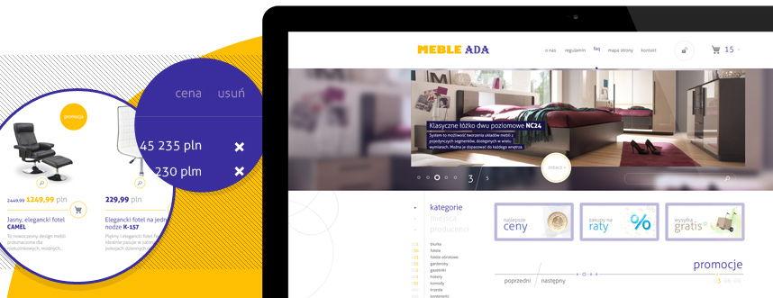 Sklep on-line, projekt graficzny Meble Ada