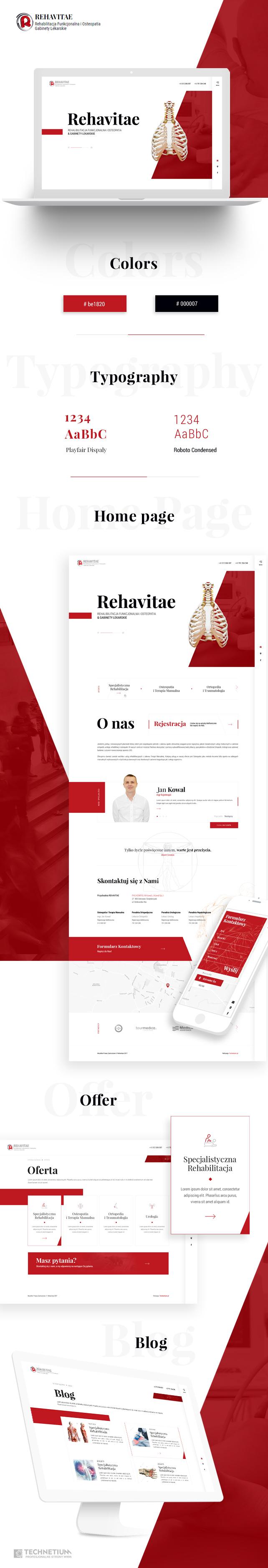 Strona www, projekt graficzny Rehavitae Terapia Manualna i Ostoapatia