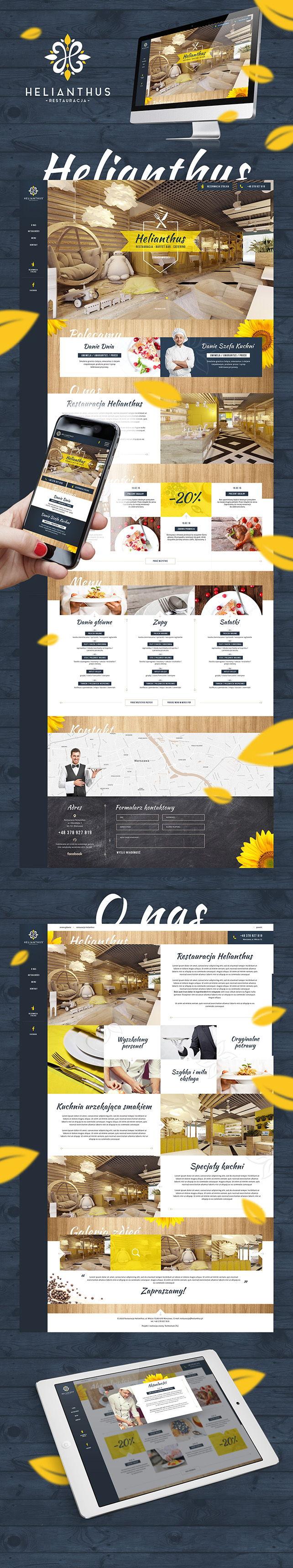 Strona www, identyfikacja wizualna Restauracja Helianthus