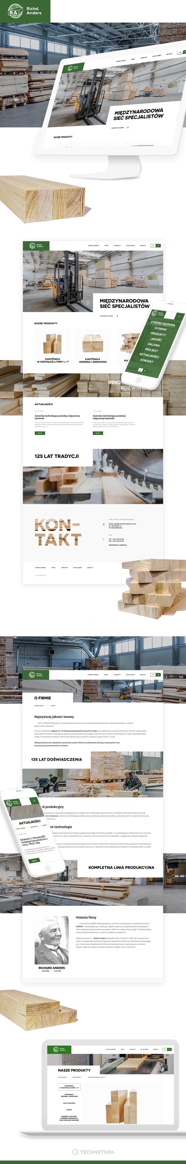 Strona www, identyfikacja wizualna Richd Anders Producent kantówki okiennej i drzwiowej