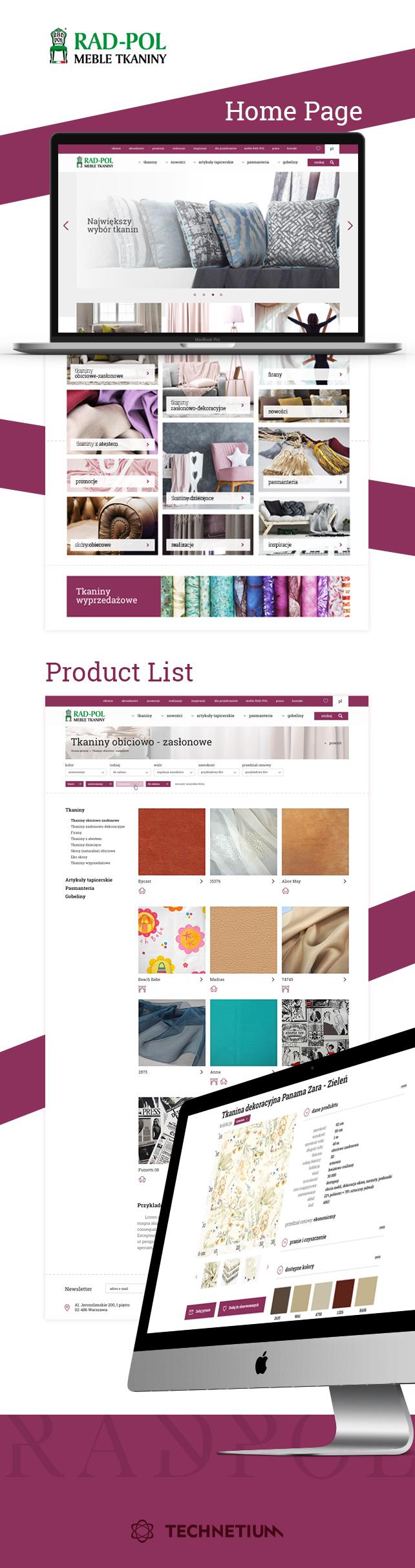 Strona www, projekt graficzny Serwis tkanin Rad-Pol