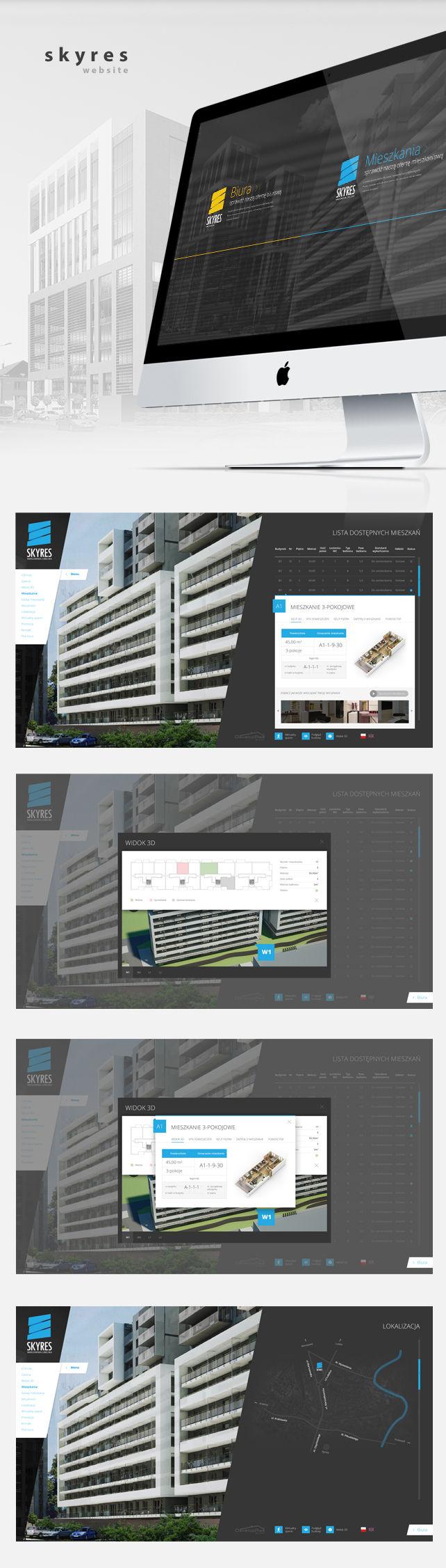 Strona www, projekt graficzny SkyRes biurowiec
