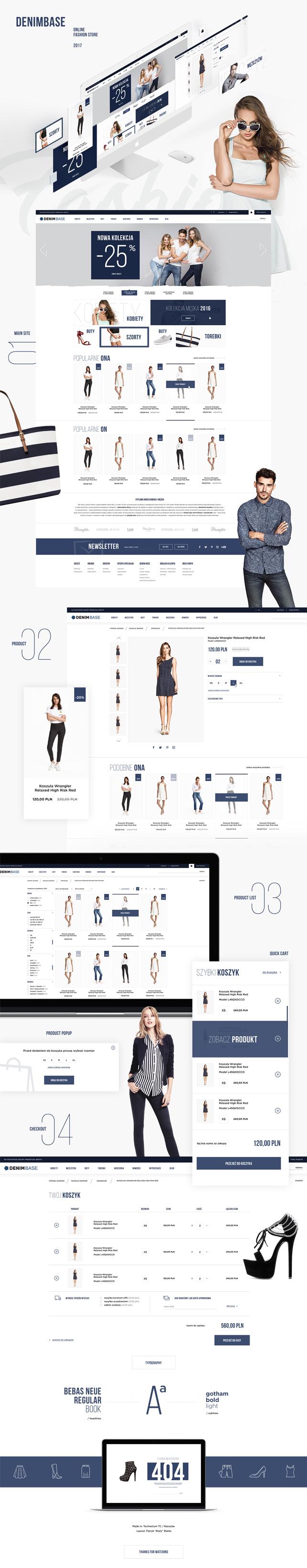 Sklep on-line, projekt graficzny denimbase.pl jeansowe ubrania najlepszych marek