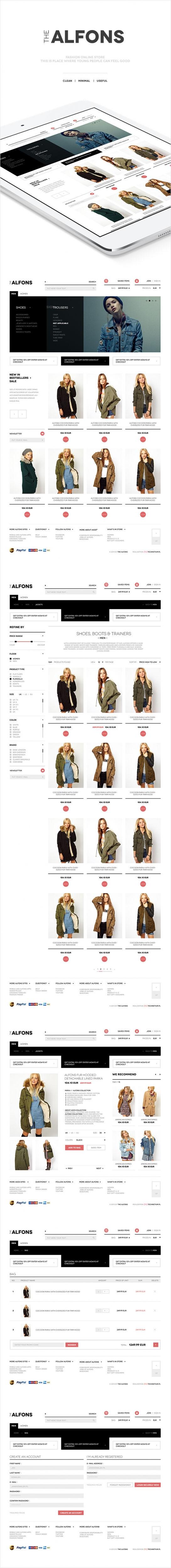 Sklep on-line, projekt graficzny The Alfons sklep odzieżowy